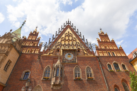 gothic wroclaw old town hall on
