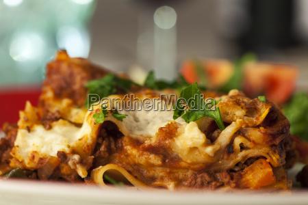 classic italian lasagna on the plate