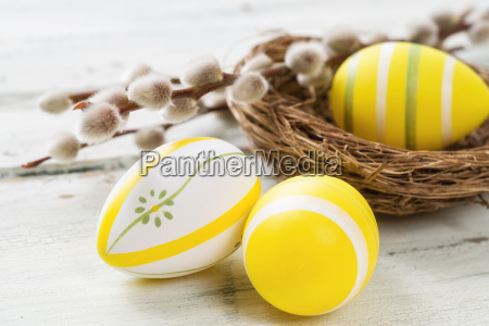 yellow easter eggs with catkins