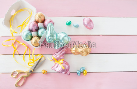 colorful easter bunnies and eggs
