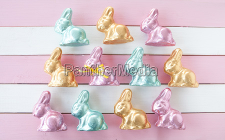 many colorful easter bunnies