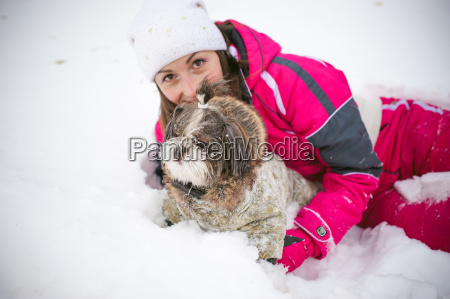 walk in winter outdoors with dog
