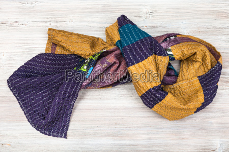 knotted stitched silk patchwork scarf