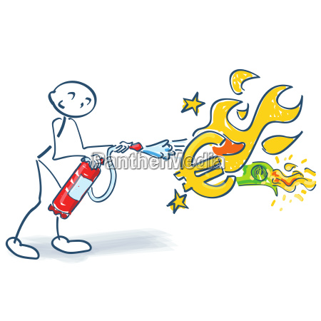 stick figure with fire extinguisher and