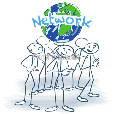 stick figures and network around the