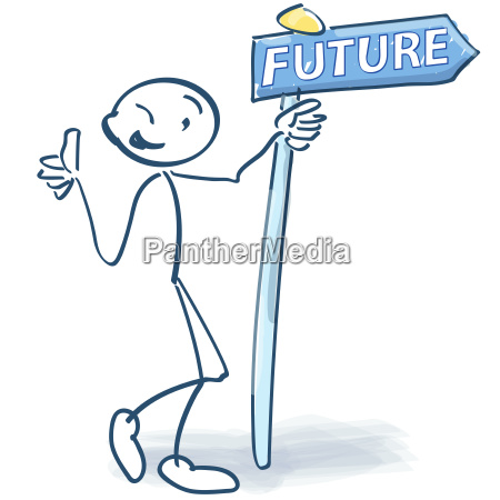 stick figure with sign and future