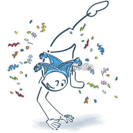 stick, figure, makes, a, leap, confetti - 23838448