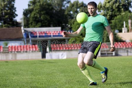 shooting soccer ball
