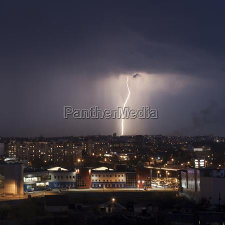 lightning strike in city at night