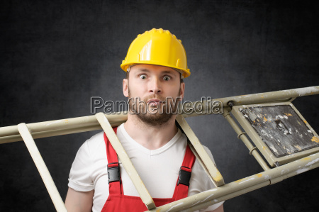 clumsy, worker, with, ladder - 23844862
