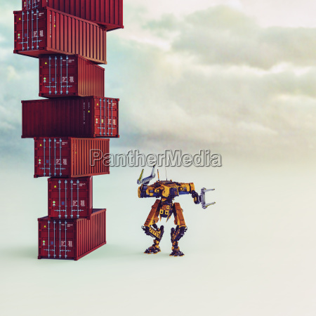 robot near stat of cargo containers