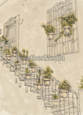 house with stairway and plants