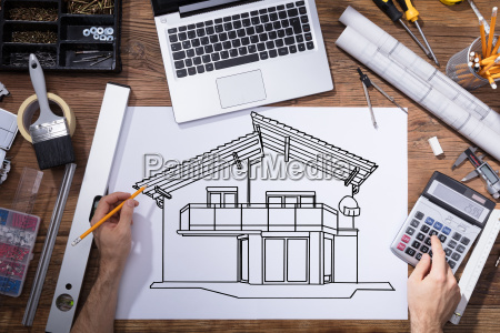 architecture drawing sketch of house on