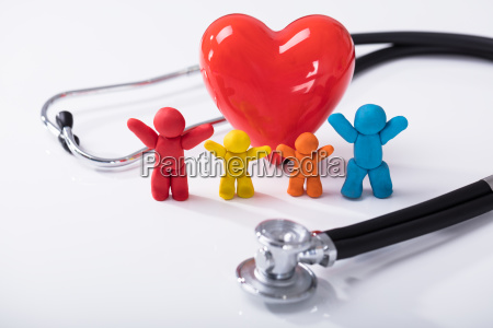 red heart and colorful clay family