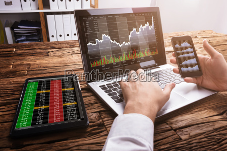 stock market broker working with graphs