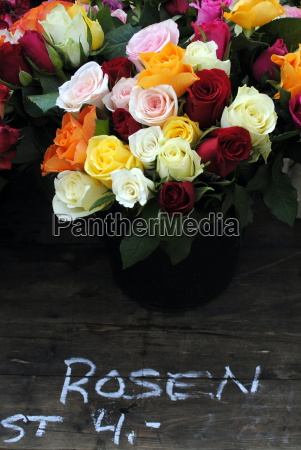 colorful bouquet of roses at the