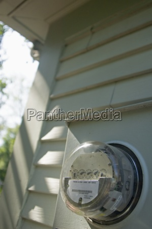 closeup of a home electric meter