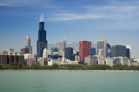 skyline including sears tower chicago illinois