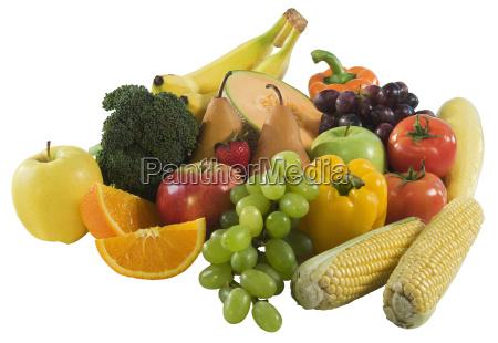 studio shot of fruit and vegetables