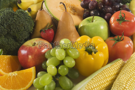 close up of fresh fruits and