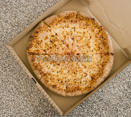 high angle view of pizza in