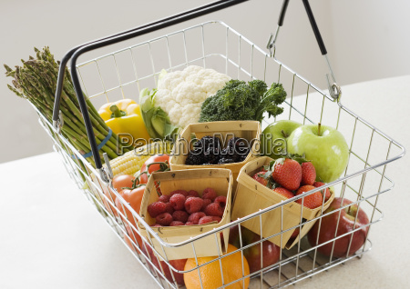 assorted fruits and vegetables in shopping
