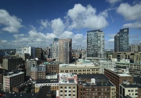 massachusetts boston city skyline with clouds