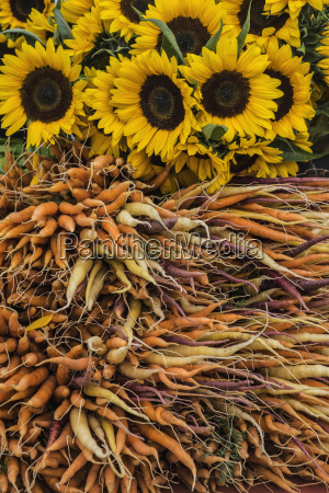 carrots and sunflowers in farmers market