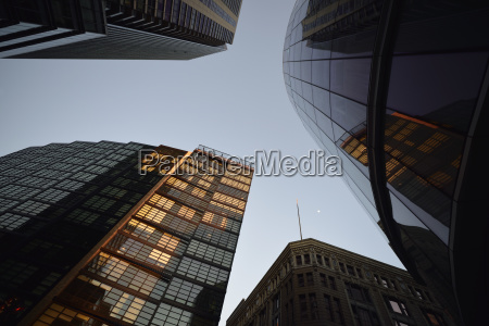 low angle view of downtown district