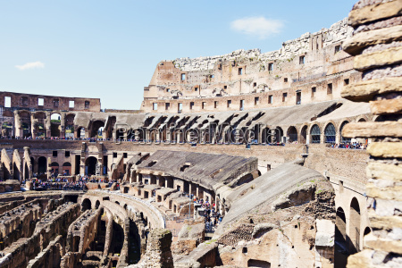 ruins of coliseum under blue sky
