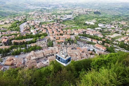 overhead, cable, car, with, townscape, in - 23901716