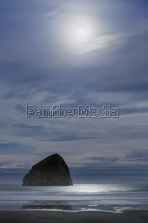 haystack rock at moonset