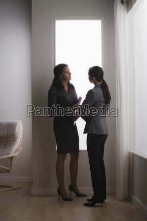 two business women discussing in office