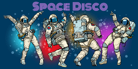 disco party astronauts dancing men and