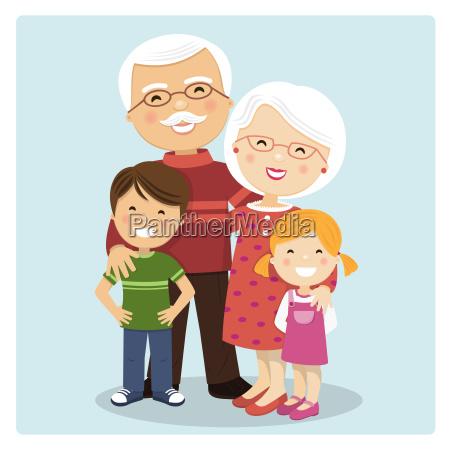 happy grandparents with grandchildren on blue