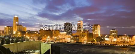 usa ohio akron cityscape at dusk