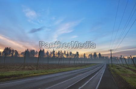 usa oregon highway at sunrise