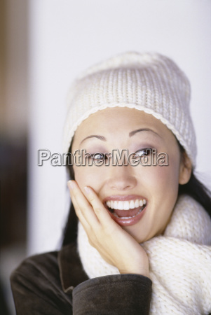 pretty woman wearing winter hat and
