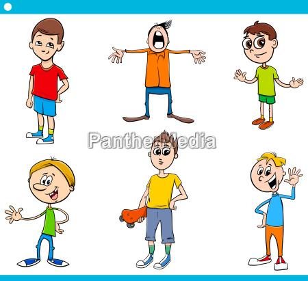 boys children characters cartoon set