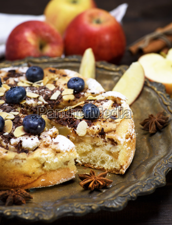 baked pie with apples on an