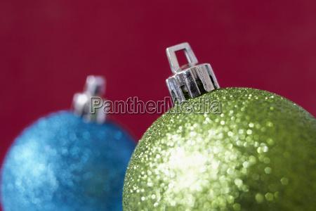 close up of shiny christmas decorations