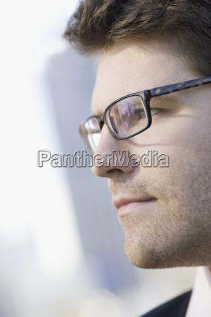 close up of unshaven businessman