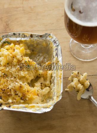 studio shot of beer and pasta