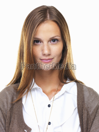studio portrait of beautiful business woman