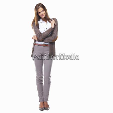 studio shot of pretty business woman