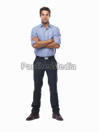 studio shot of confident business man