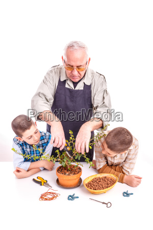 senior man with his grandchildren