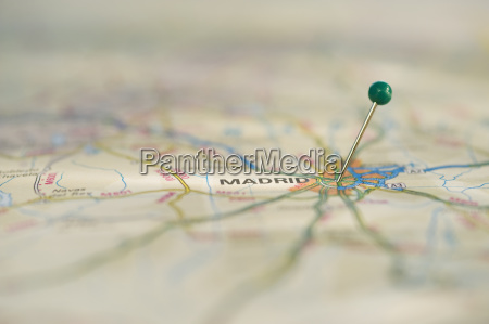 close up of pin on map