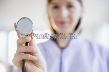 close up of female doctor with