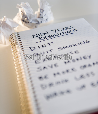close up of notebook with list
